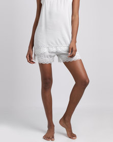Poppy Divine Rayon Shorts With Lace Trim Silver