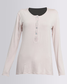 Poppy Divine Viscose Plain PJ Top With Button Stand Nude
