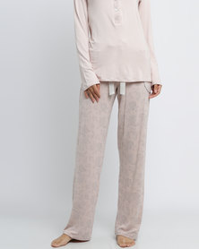 Poppy Divine Viscose Print Long Pants With Pocket And Bow Detail Nude