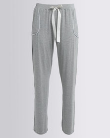 Poppy Divine Viscose Plain Long Pants With Pocket And Bow Detail Grey