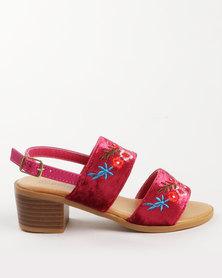 Pretty Feet Girls Embroidered Heels Burgundy