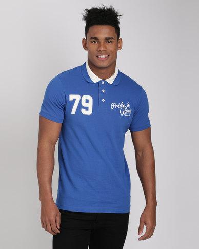 Pride & Glory Gaines Polo T-Shirt Blue
