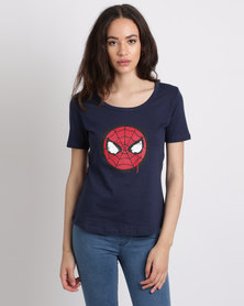 Primate Collectables Marvel Spider-Man Face T-Shirt Navy