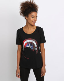 Prima Tee's Marvel Cap Shield Shade Out T-Shirt Black