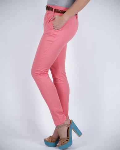 Pull-It Skinny Leg Trousers Pink