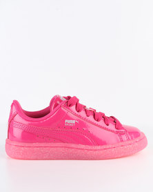 Puma Basket Patent Iced Glitter PS Sneaker Pink