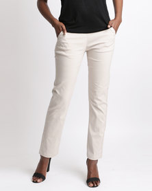 Queenspark Long Stretch Woven Trouser With Front Button Detail Stone