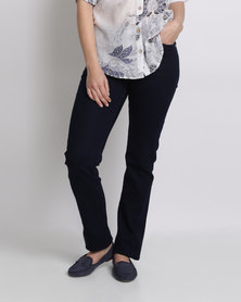 Queenspark Sparkle Double Waisted Denim Woven Jean Indigo