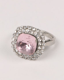 Queenspark Stone With Diamante Trim Ring SIlver-tone