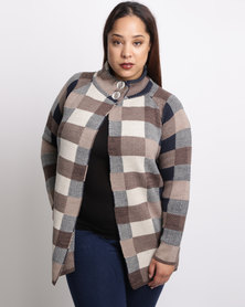 Queenspark Plus Check 2 Button Knitwear Jacket Taupe