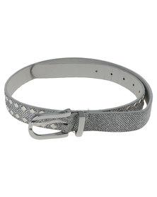 Queenspark Lurex Belt With Diamond Shaped Trims Silver