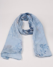 Queenspark Flower & Butterfly Print Poly Scarf Blue