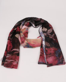 Queenspark Abstract Floral Chiffon Scarf Purple