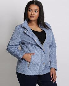Queenspark Plus Mini Quilt Long Sleeve Puffer Woven Jacket Blue