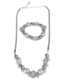Queenspark Mesh Balls Necklace And Bracelet Set Silver