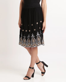 Queenspark Adele Embroidered Woven Skirt Black