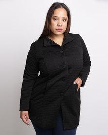Queenspark Plus New Textured Knit Coat Black