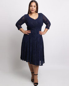 Queenspark Plus Ombre Flocked Mesh Knit Dress Navy