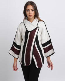Queenspark Cath.Nic Striped Cape Styled Knit Coat Burgundy