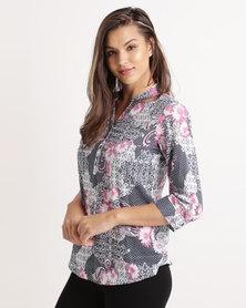 Queenspark Honeycomb Voile Woven Shirt Pink