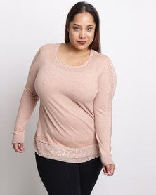 Queenspark Plus Embellished & Lace Trim Knitwear Top Pink