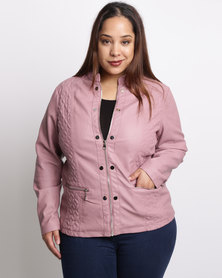 Queenspark Plus Embroidery Detail Pleather Jacket Pink