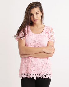 Queenspark Short Sleeve Lace Core Knit Top Pink