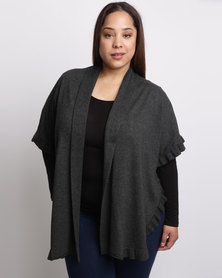 Queenspark Plus Styled Frill Knitwear Cardigan Charcoal