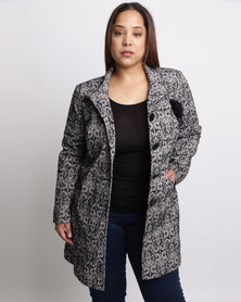 Queenspark Plus Textured Knit Lined Coat Grey