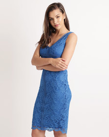 Queenspark Special Cut-Out lace Knit Dress Cobalt