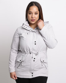 Queenspark Plus Woven Sueded Casual Jacket With Hardware Detail Silver