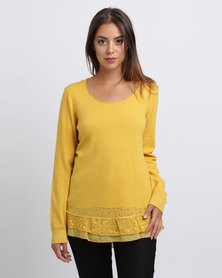 Queenspark Chiffon And Lace Hem Crewneck Jersey Gold