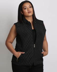 Queenspark Plus Sleeveless Woven Puffer Jacket With Double Zips Black