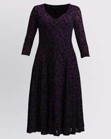 Queenspark Small Rose Flocked Design Fit & Flare Knit Dress Purple