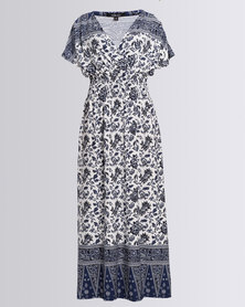 Queenspark Cath.Nic  Floral Maxi Knit Dress Navy
