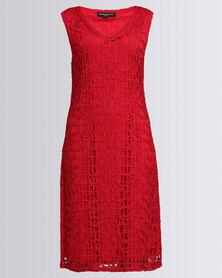 Queenspark New Ribbon Cornelli Knit Dress Red