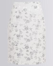 Queenspark Jacquard Woven Skirt Silver