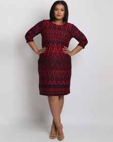 Queenspark Plus Aztec Border Printed Knit Dress Red