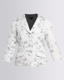 Queenspark Jacquard Woven Jacket Silver