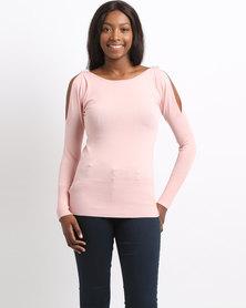 Queenspark Brooch Shoulder Knitwear Top Pink