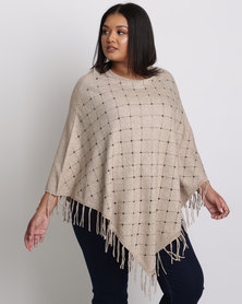 Queenspark Plus Beaded Knit Poncho With Fringing Camel