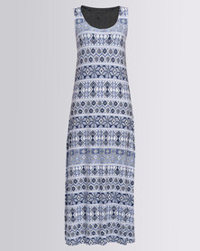 Queenspark Geometric Linear Printed Knit Maxi Dress Blue