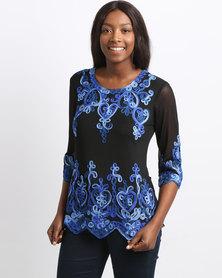 Queenspark Scroll Design Knit Top Cobalt