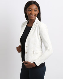 Queenspark Rose Print Knit Jacket Cream