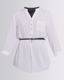 Queenspark Belted Woven Shirt White