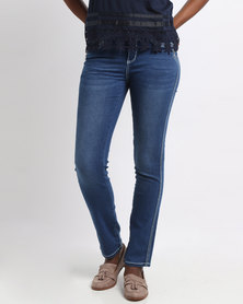 Queenspark Diamante Thick Stitch Woven Denim Indigo