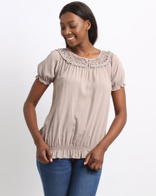Queenspark Woven Short Sleeve Blouse With Neckline Lace Detail Mocha