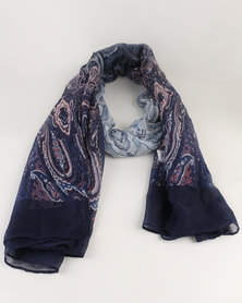 Queenspark Paisley Print With Border Poly Scarf Blue