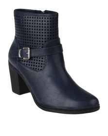 Queenspark Perforated Ankle Buckle Boot Blue