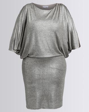 Queenspark Evening Sensation Glitter Knit Dress Silver